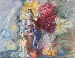 Elegant Portrait, Mother and Child, Original Oil Painting