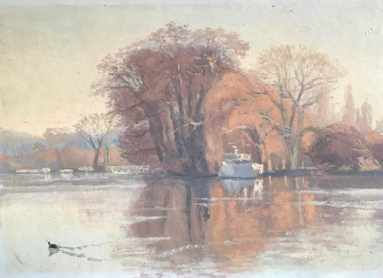 Harold George Figurative Painting - Sunrise on the river 'The River at Shiplake', Signed Oil Painting