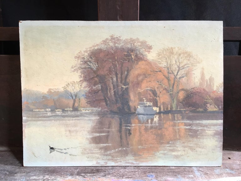 Sunrise on the river 'The River at Shiplake', Signed Oil Painting - Beige Figurative Painting by Harold George