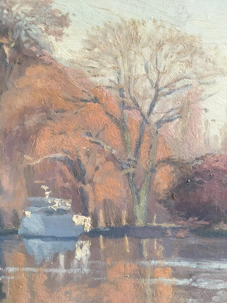 Sunrise on the river 'The River at Shiplake', Signed Oil Painting For Sale 1