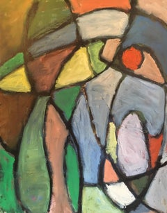 Large Abstract 1960s Colourful Oil Painting, Original Frame
