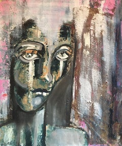 Macabre Style, Abstract Portrait, Dark Colours, Original Oil Painting