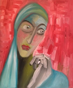 Striking Portrait, Cubist Abstract, Red Colour, Original Oil Painting