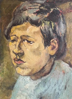 "Portrait of a Young Boy, Titled ""Boy"", Original Impressionist Oil Painting"