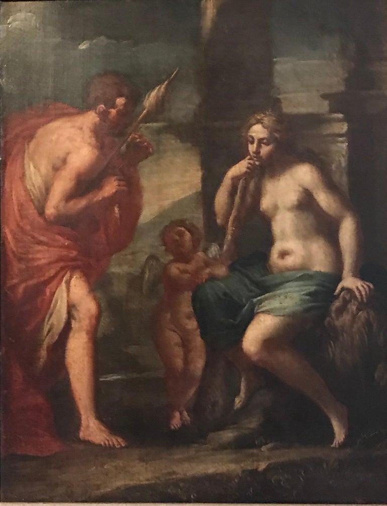 Italian Old Master Figurative Painting - Hercules & Omphale, Fine 18th Century Italian Oil Painting