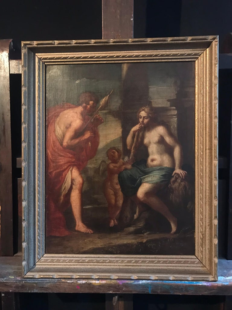 Hercules & Omphale, Fine 18th Century Italian Oil Painting  - Black Figurative Painting by Italian Old Master