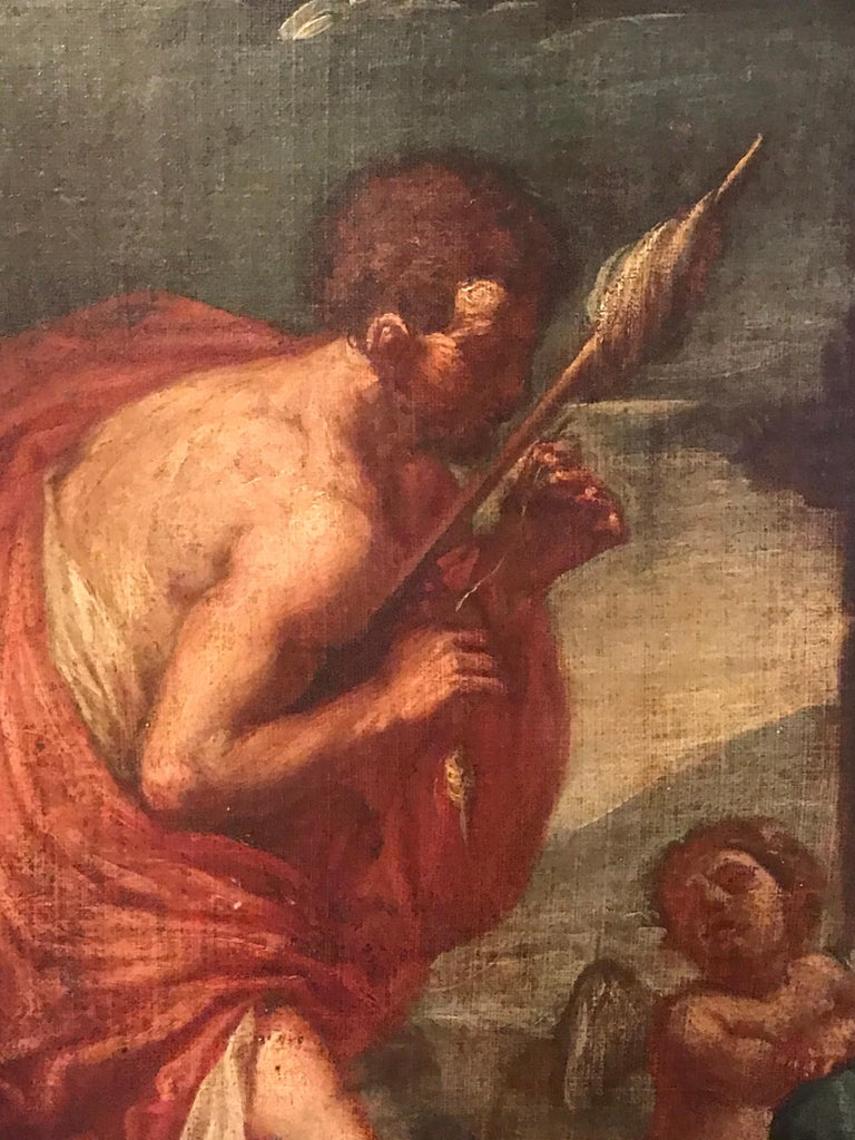 Hercules & Omphale Italian School, 18th century oil painting on canvas, framed painting: 18 x 14 inches framed: 20.5 x 17 inches provenance: private collection, Paris  Very fine quality early 18th century Italian Old Master oil painting on canvas.