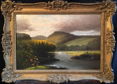 Breathtaking Estuary, Antique British Landscape OIl Painting, Dated & Signed