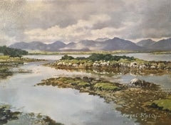 Cloudy Irish Mountains and Estuary, Impressionist Oil, Signed