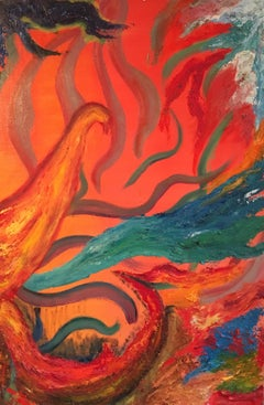 Fiery Abstract, Orange Colour, Original Oil Painting