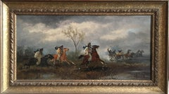 Buccaneers, Signed Antique British Oil Painting, Horses Galloping