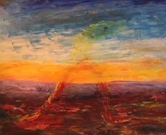 Large Ominous Sunset Abstract, Yellow, Original Oil Painting