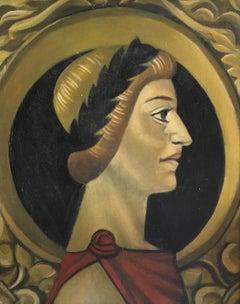 Roman Laurel Wreath, Male Portrait, Original Oil Painting