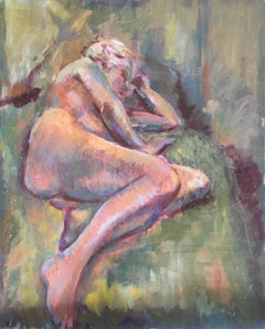Impressionist Nude, Mid 20th Century British Artist, Original Oil Painting