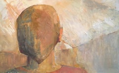 Mysterious Identity Abstract Portrait, Muted Colours, Original Oil Painting