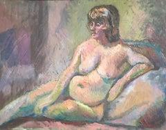 Nude Original Oil Painting Mid 20th Century British Artist