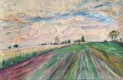 Pink Fields, Impressionist Landscape, Pastel Colours, Oil Painting