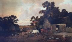 Victorian Rustic Agricultural Farm Landscape, Signed Original Oil