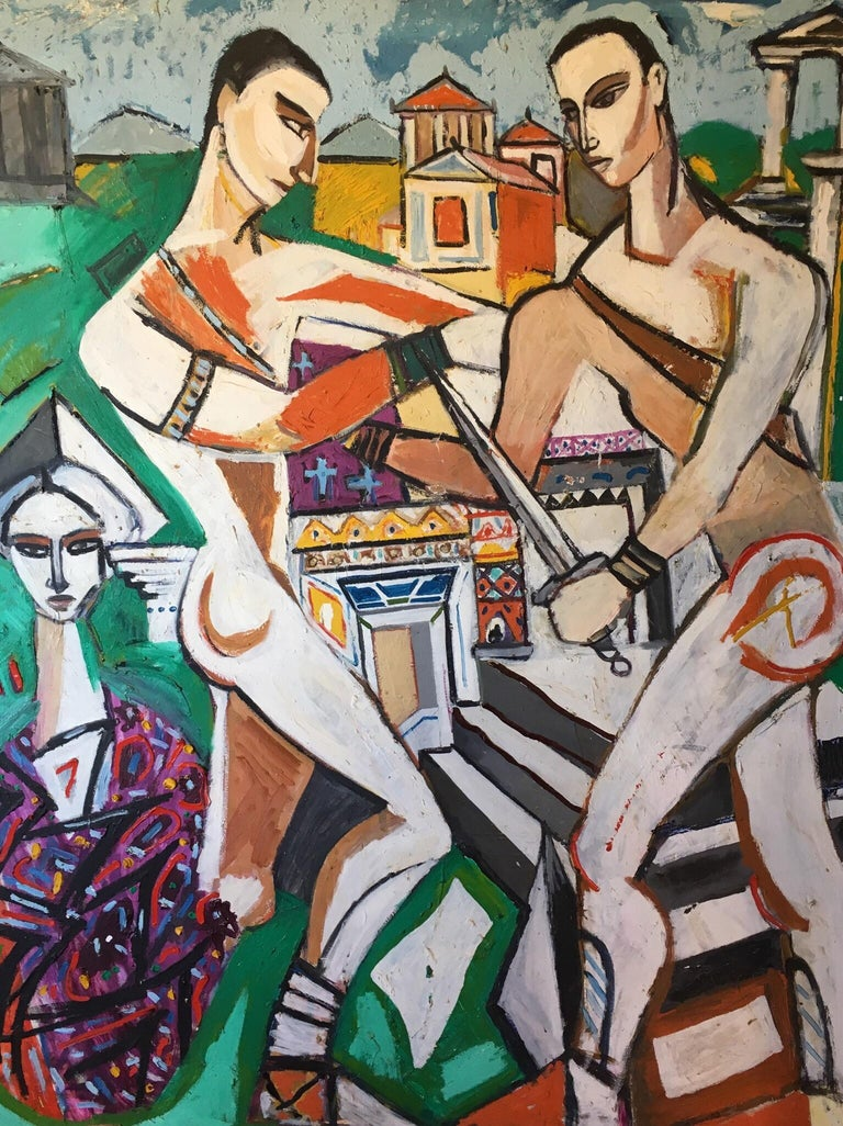Unknown Portrait Painting - Huge Colourful Abstract of the Roman Empire, Cubist Original Oil Painting