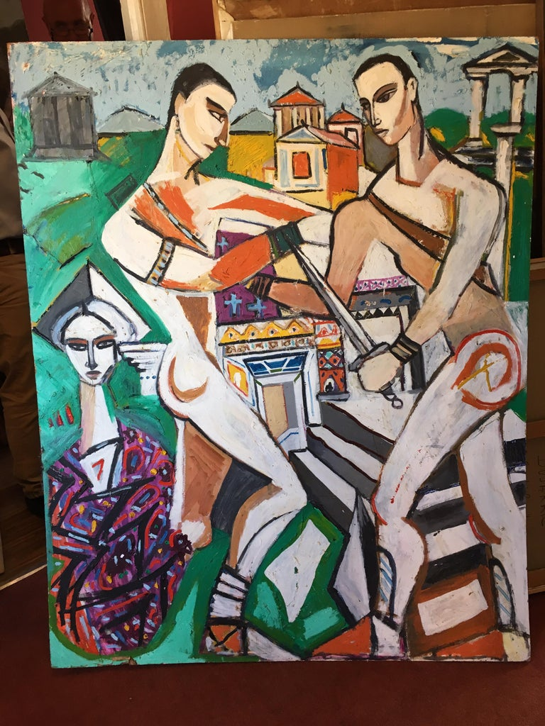 Huge Colourful Abstract of the Roman Empire, Cubist Original Oil Painting  - Brown Portrait Painting by Unknown