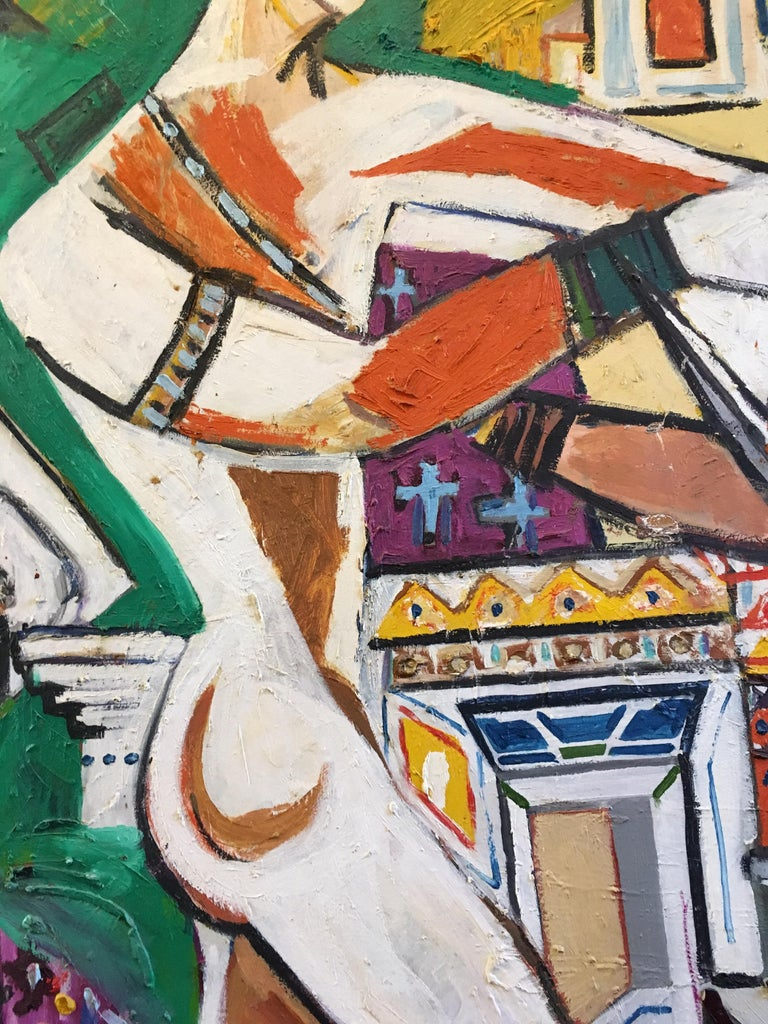 Huge Colourful Abstract of the Roman Empire, Cubist Original Oil Painting  For Sale 3