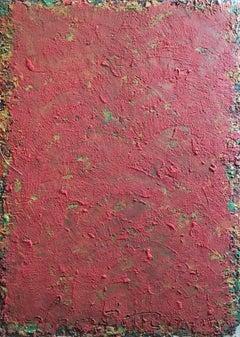 Large Red Block Abstract, Mixed Medium, Original Painting