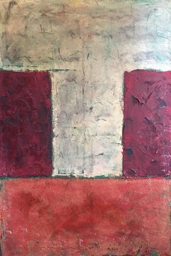 Large Red and Purple Block Abstract, Mixed Medium, Original Painting