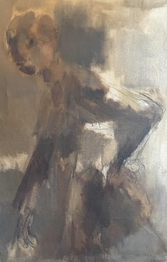 On the Run, Huge French Abstract Portrait, Original Oil Painting Signed