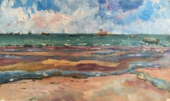 Out to Sea, Beach Scene with Choppy Seas French Original Oil Painting