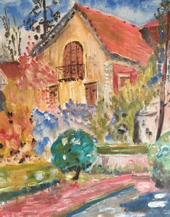 Pretty French Balcony, Floral Landscape, Original Oil Painting