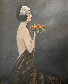 Early 1900's British Portrait Semi Nude Maid holding Fruit Signed Oil Painting