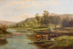 Victorian Signed Oil Painting Cattle Watering River English Landscape Framed