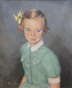 20th Century Portrait Oil Painting of Young Girl in Green Dress