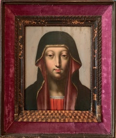 FINE 1600's FLEMISH OLD MASTER OIL ON CRADLED PANEL - HEAD PORTRAIT THE VIRGIN