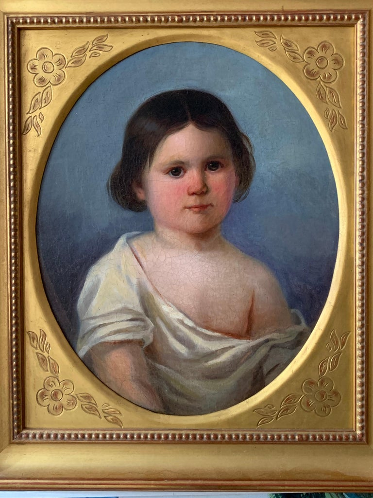 Early Victorian Oil Painting Portrait of Young Girl 19th Century Original  For Sale 1