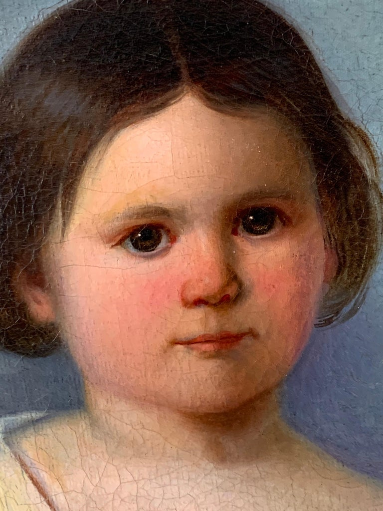 Early Victorian Oil Painting Portrait of Young Girl 19th Century Original  For Sale 3