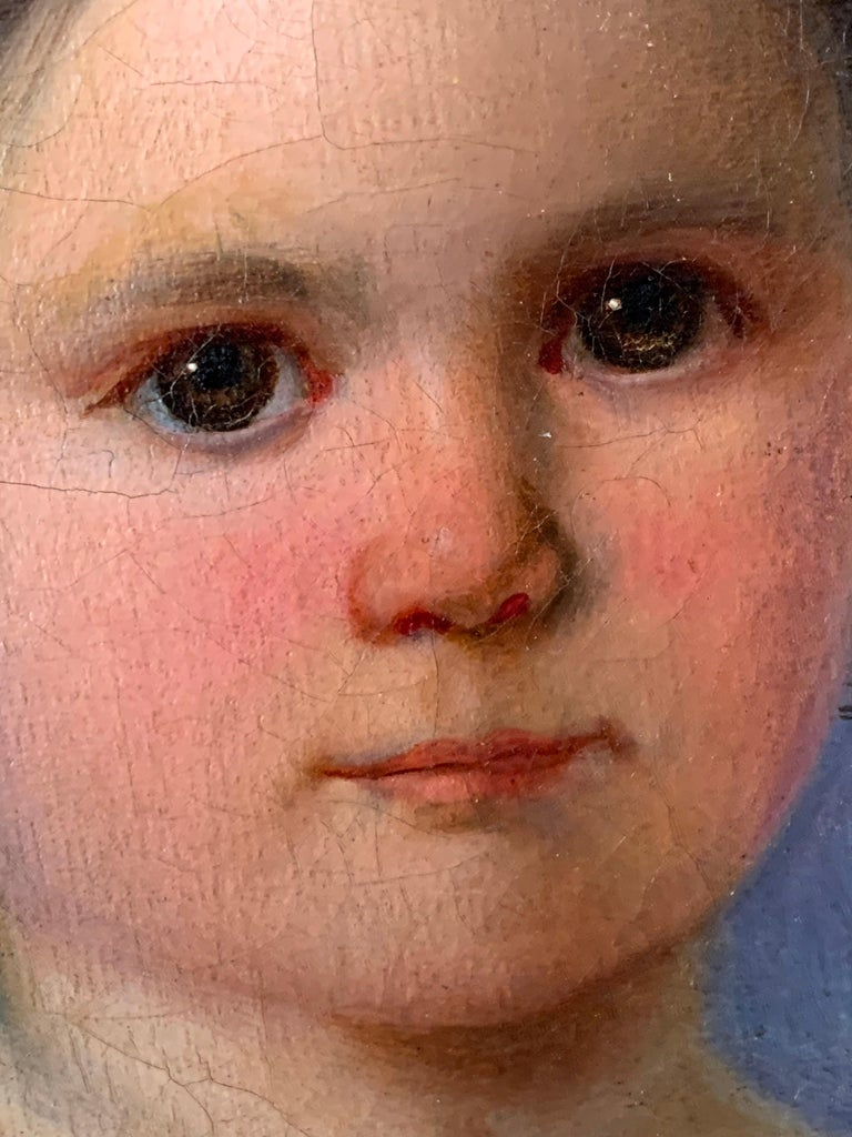 Early Victorian Oil Painting Portrait of Young Girl 19th Century Original  For Sale 4