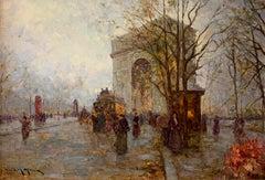 Arc de Triomphe Paris Signed French Impressionist Oil Painting on Canvas
