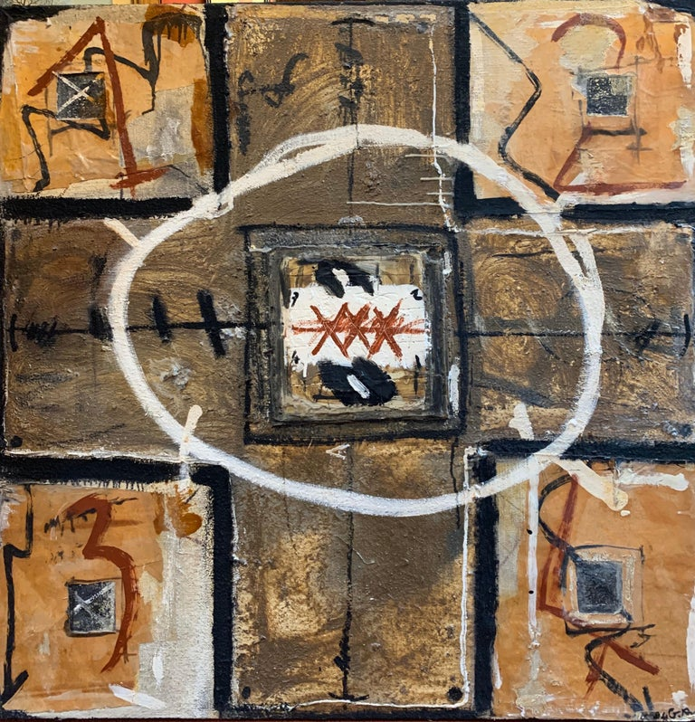 Huge French Contemporary Abstract Painting with Collage dated 1994, Signed - Mixed Media Art by Gwen Roc'h