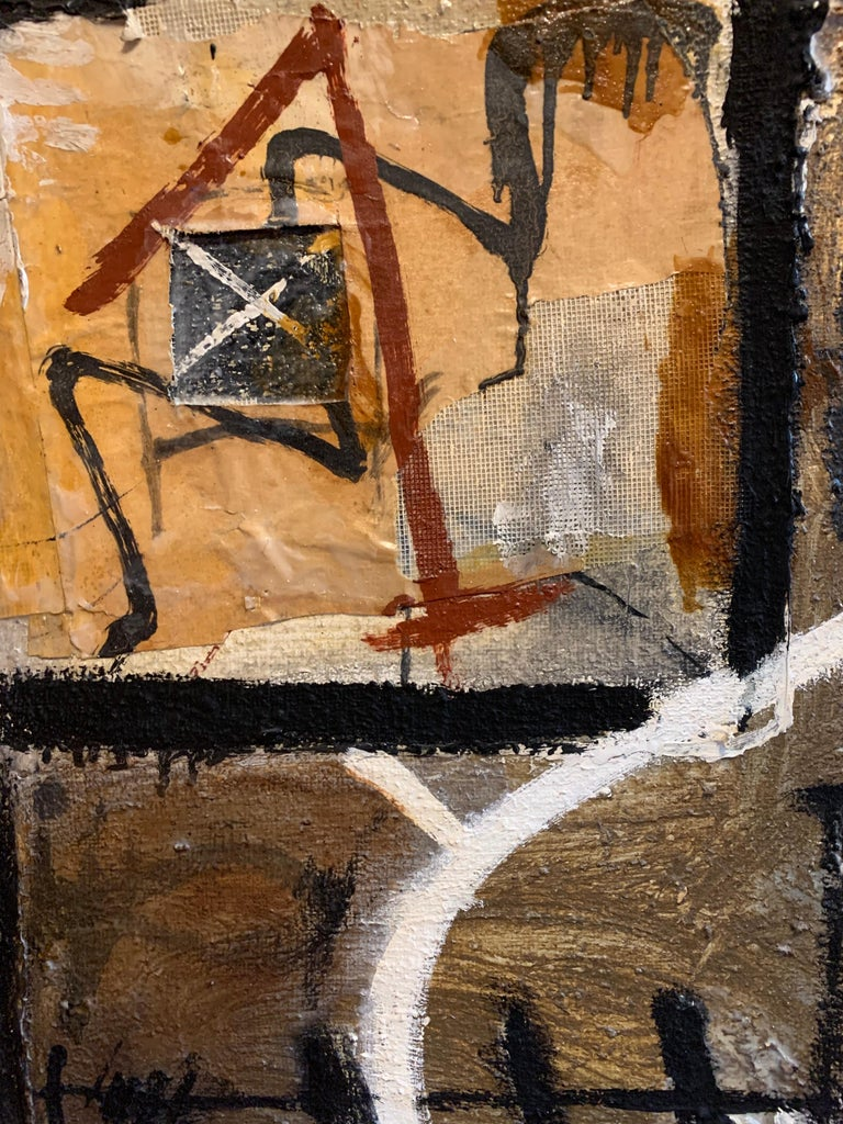 Abstract Composition by Gwen Roc'h (French, contemporary) oil painting with collage applied, mixed media surface, on canvas 39.5 x 39.5 inches signed & dated 1994 verso  Striking and vivid abstract painting with applied collage to the surface