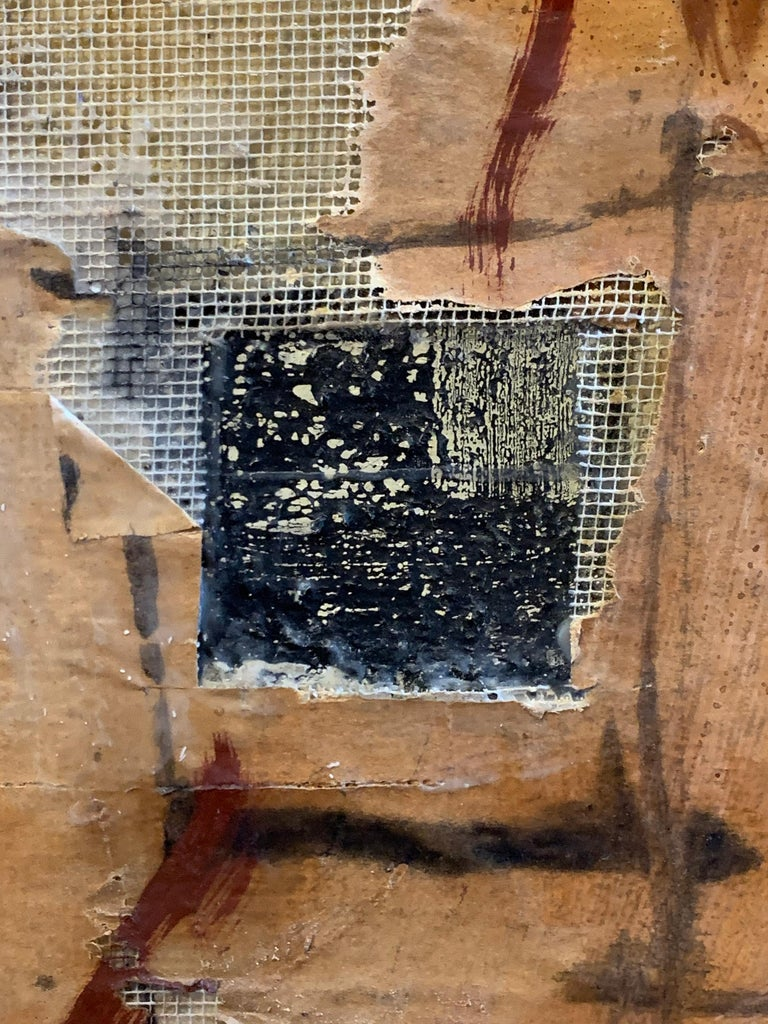 Huge French Contemporary Abstract Painting with Collage dated 1994, Signed For Sale 1