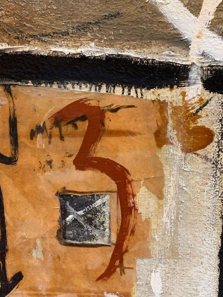 Huge French Contemporary Abstract Painting with Collage dated 1994, Signed For Sale 3