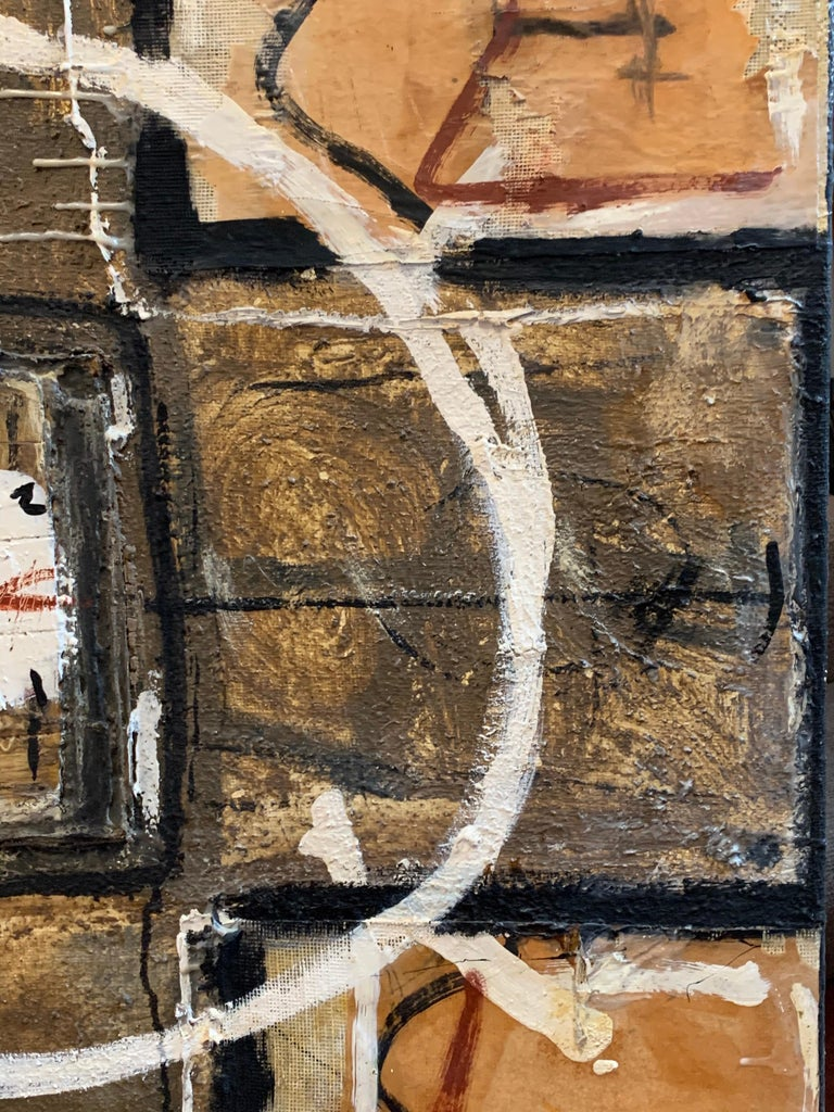 Huge French Contemporary Abstract Painting with Collage dated 1994, Signed For Sale 5