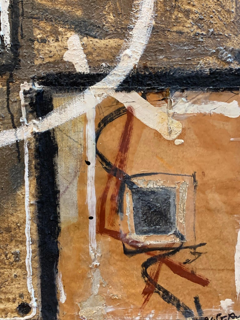 Huge French Contemporary Abstract Painting with Collage dated 1994, Signed For Sale 6