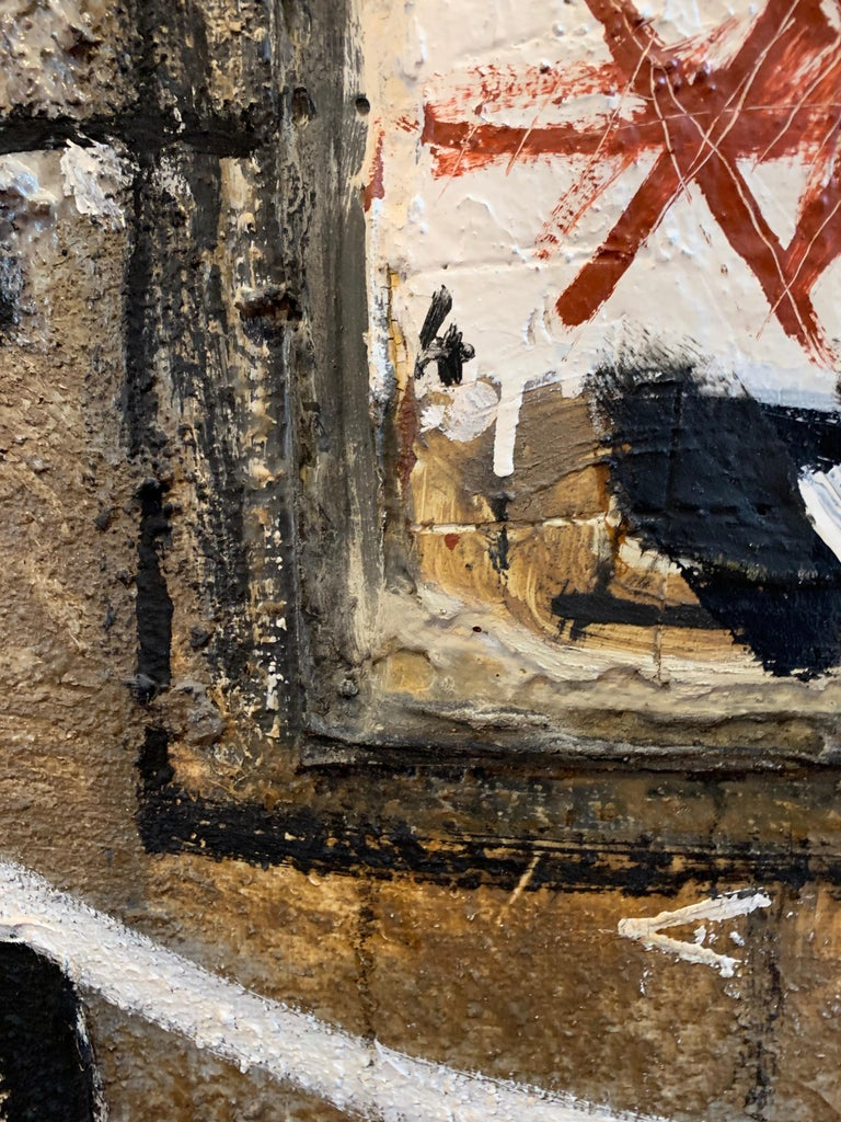Huge French Contemporary Abstract Painting with Collage dated 1994, Signed For Sale 8