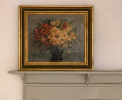 Large French Still Life of Flowers Vintage, signed S. Deschamps