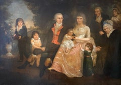Georgian English Family Portrait Large 18th century oil painting on canvas