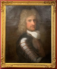17th Century German Nobleman in Suit of Armour Large Oil Painting on Canvas