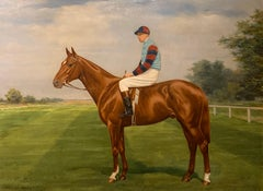Racehorse Antique Oil Painting Equestrian Portrait with Jockey Up at Newmarket