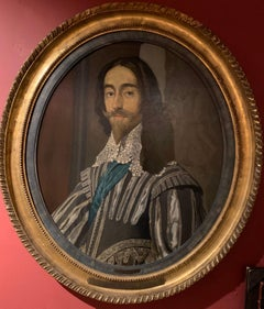 King Charles I of England, Large Antique Oval Oil Painting on Panel, Framed
